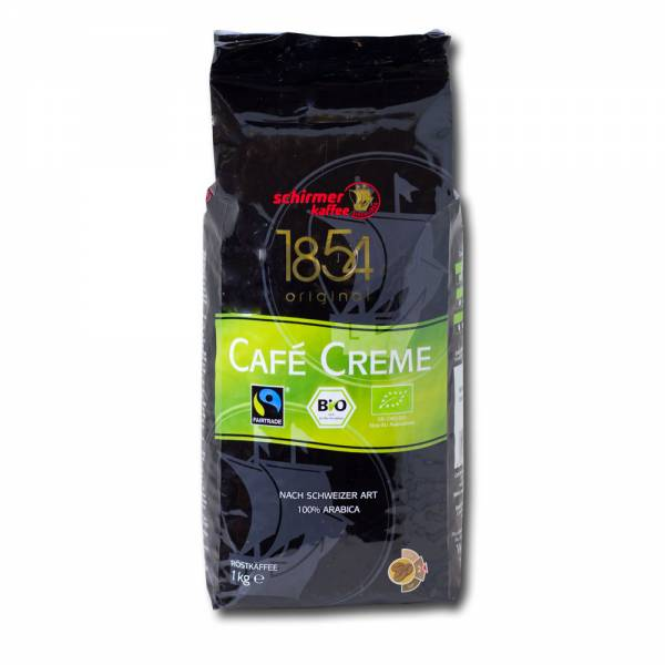 Schirmer Bio Fairtrade Cafe Creme 8 x 1 kg ganze Bohne